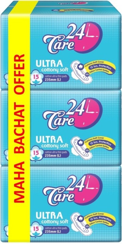 24Care Ultra Cottony Soft Sanitary Pad(Pack of 45)