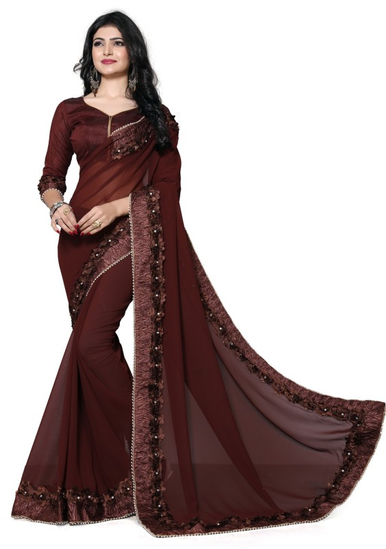 Fab Valley Self Design Bollywood Georgette Saree(Brown)