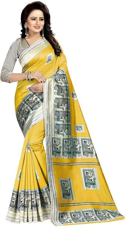 Salwar Studio Printed Bollywood Art Silk Saree(Yellow)