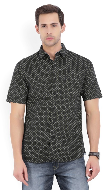Allen Solly Mens Printed Casual Dark Blue Shirt