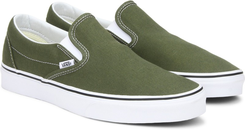 Vans Classic Slip-On Sneakers For Men(White, Khaki)
