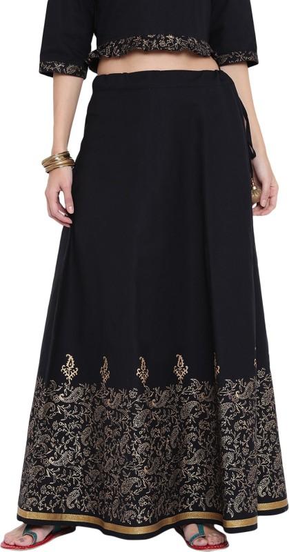 9rasa Abstract Women Flared Black Skirt