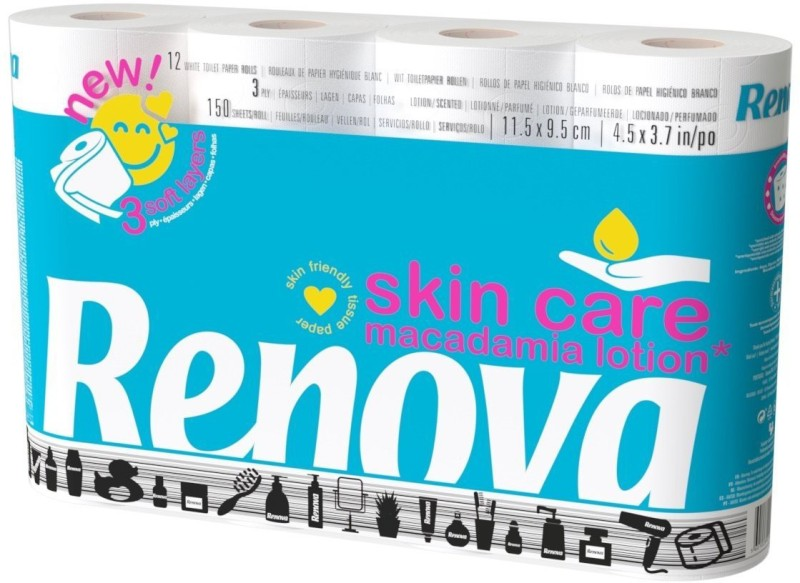 Renova Skin Care Macadamia Lotion & Perfumed Toilet Paper 12 Rolls (3 Ply) Toilet Paper Roll(3 Ply, 150 Sheets)