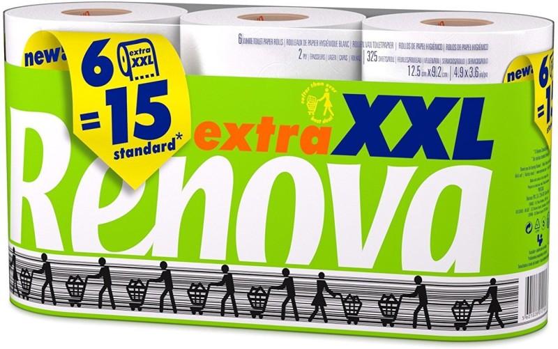 Renova Extra XXL Toilet Paper 6 Rolls 2 (Ply) Toilet Paper Roll(2 Ply, 325 Sheets)