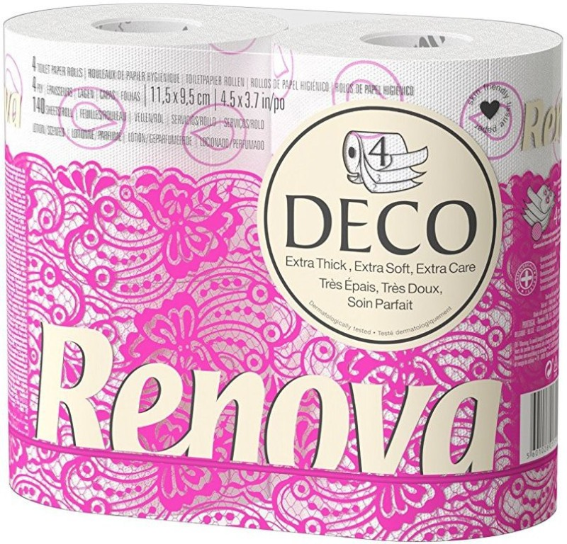 Renova Deco Toilet Paper 4 Rolls White (4 Ply) , Lotion and Perfumed , Tested Under Dermatological And Gynaecological Control, First time In INDIA Toilet Paper Roll(4 Ply, 140 Sheets)