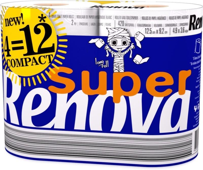 Renova Super Compact Toilet Paper 4 Rolls Toilet Paper Roll(2 Ply, 390 Sheets)