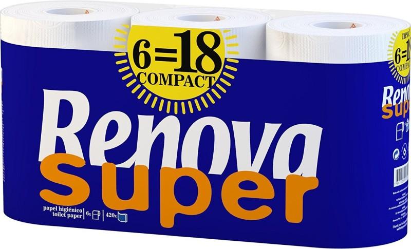 Renova Super Compact Toilet Paper 6 Rolls Toilet Paper Roll(2 Ply, 390 Sheets)