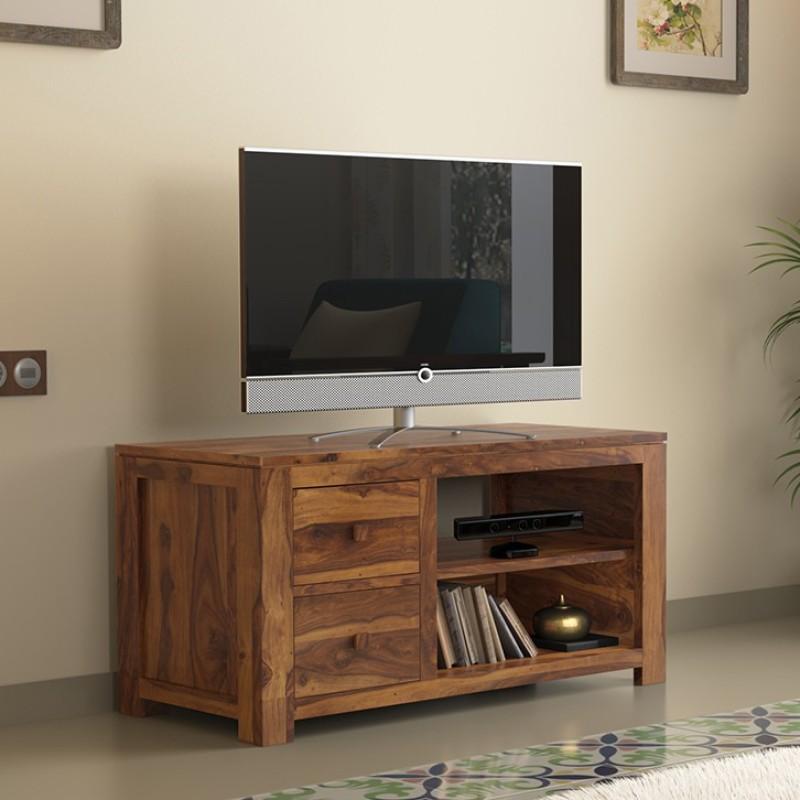 Urban Ladder Striado Solid Wood TV Entertainment Unit(Finish Color - Teak)