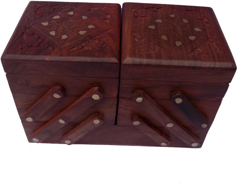 Handicraft SHEESHAM WOOD INLAY AND CARVING WORK SLIDER BOX JEWELLERY Vanity Box(Brown)