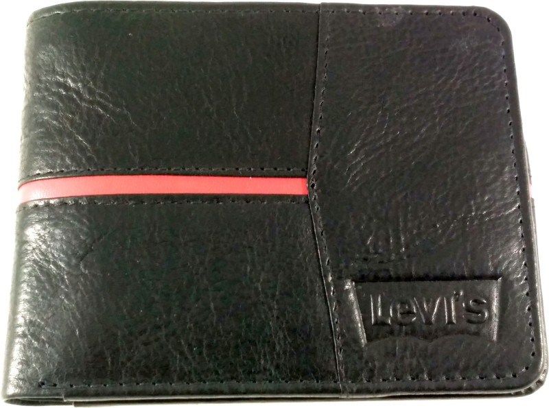 Levis Men Black Genuine Leather Wallet(6 Card Slots)