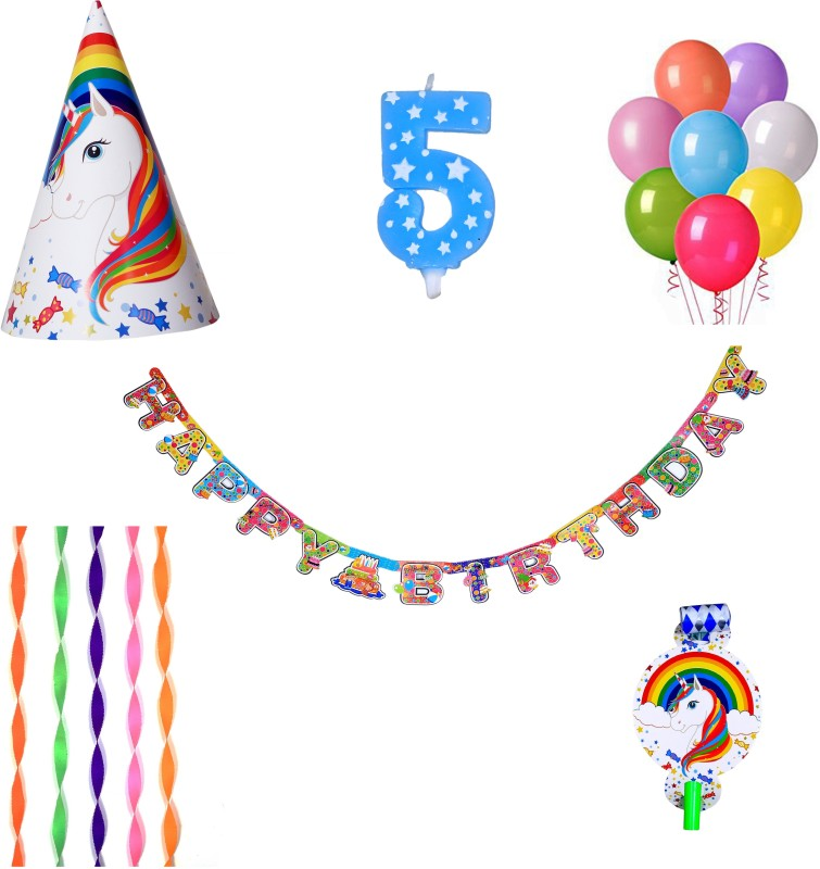 PEPUP Unicorn Theme Kids 5th Birthday Party Decoration value pack for 12 Children - 48 pcs, with 5th Birthday Number Candle(Set of 48)