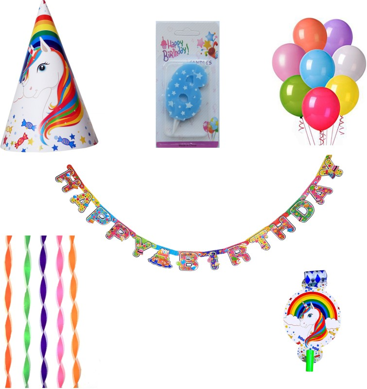 PEPUP Unicorn Theme Kids 6th Birthday Party Decoration value pack for 6 Children - 36 pcs, with 6th Birthday Number Candle(Set of 36)