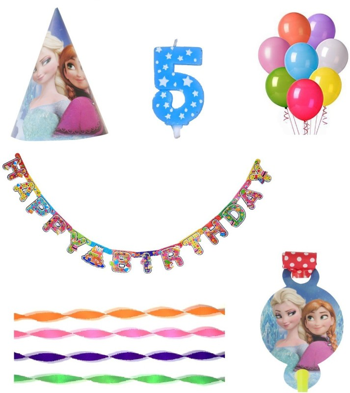 PEPUP Frozen Themed Kids 5th Birthday Party Decoration value pack for 12 Children - 48 pcs, for a wonderful Frozen theme birthday celebrations(Set of 48)