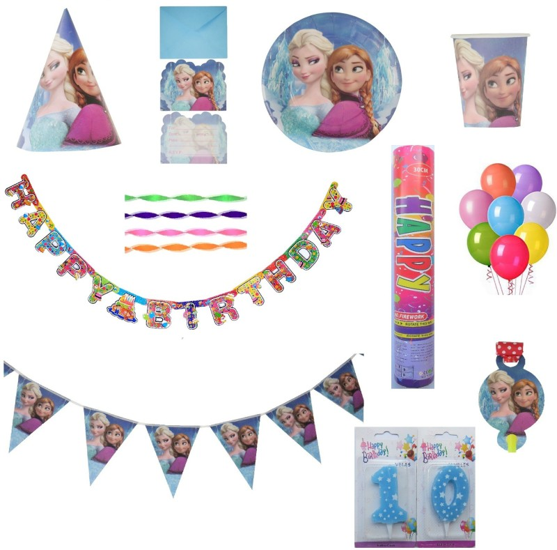 PEPUP Frozen Themed Kids 10th Birthday Party Decoration combo pack for 12 Children - 87 pcs, for a wonderful Frozen theme birthday celebrations(Set of 87)