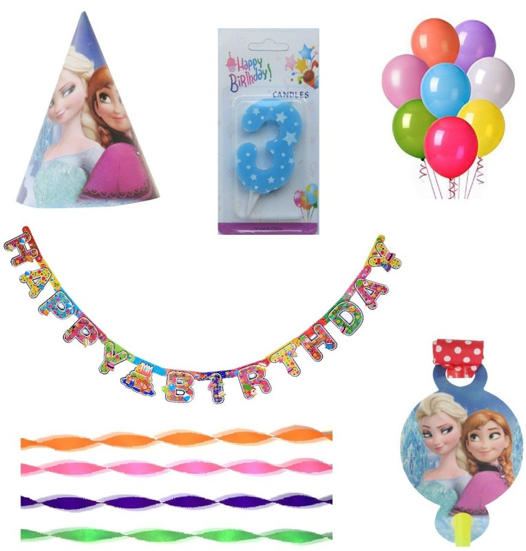 PEPUP Frozen Themed Kids 3rd Birthday Party Decoration value pack for 6 Children - 36 pcs, for a wonderful Frozen theme birthday celebrations(Set of 36)
