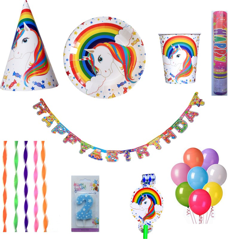 PEPUP Unicorn Theme Kids 2nd Birthday Party Decoration combo pack for 12 Children - 73 pcs, with 2nd Birthday Number Candle(Set of 73)