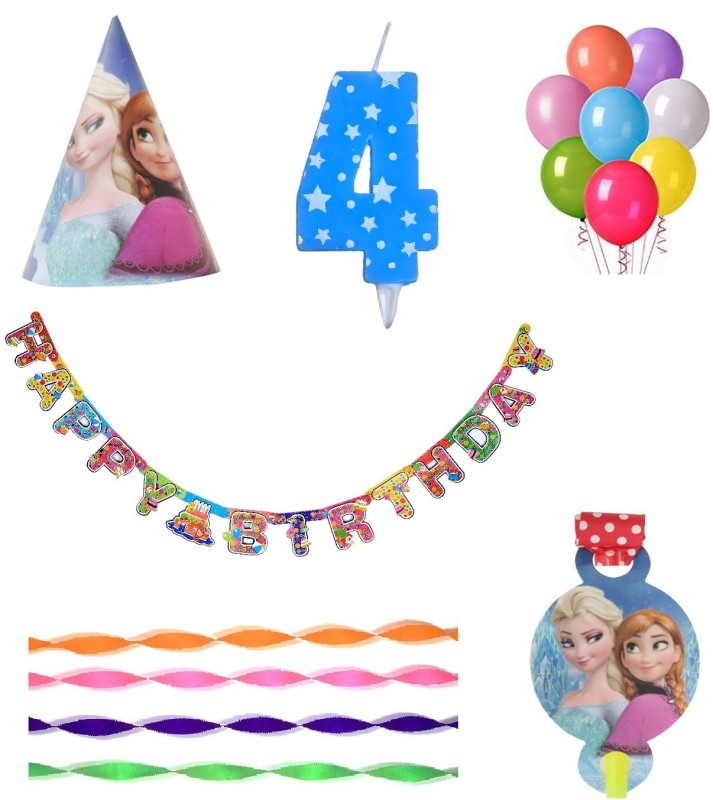 PEPUP Frozen Themed Kids 4th Birthday Party Decoration value pack for 12 Children - 48 pcs, for a wonderful Frozen theme birthday celebrations(Set of 48)