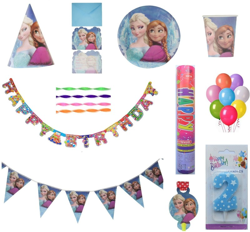PEPUP Frozen Themed Kids 2nd Birthday Party Decoration combo pack for 12 Children - 87 pcs, for a wonderful Frozen theme birthday celebrations(Set of 87)