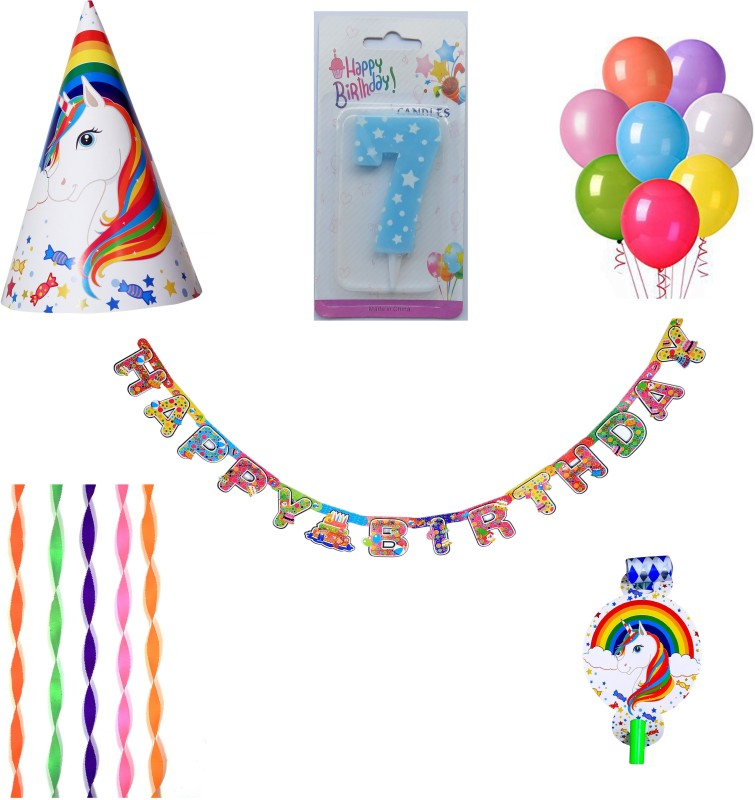 PEPUP Unicorn Theme Kids 7th Birthday Party Decoration value pack for 12 Children - 48 pcs, with 7th Birthday Number Candle(Set of 48)