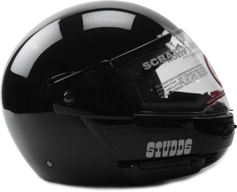 Studds StuddsRK Ninja Flip up full Paster Plain Motorbike Helmet(Black)