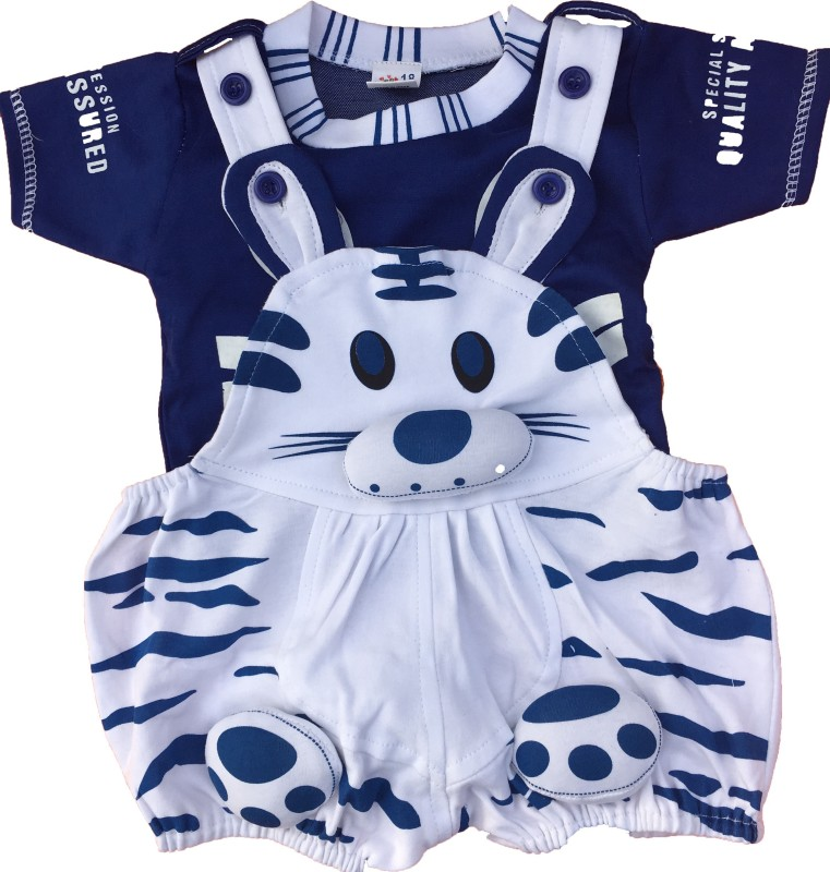 Icable Dungaree For Boys & Girls Casual Animal Print Cotton Blend(Blue, Pack of 1)