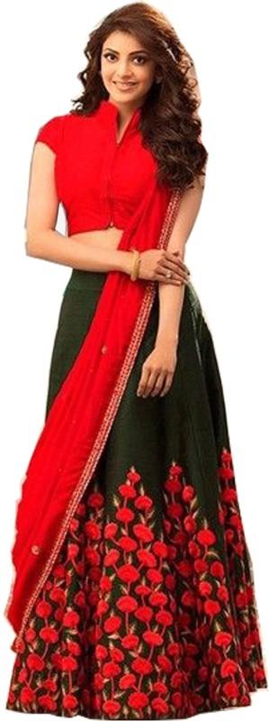 21st Fashion Embroidered Semi Stitched Lehenga, Choli and Dupatta Set(Black, Red)