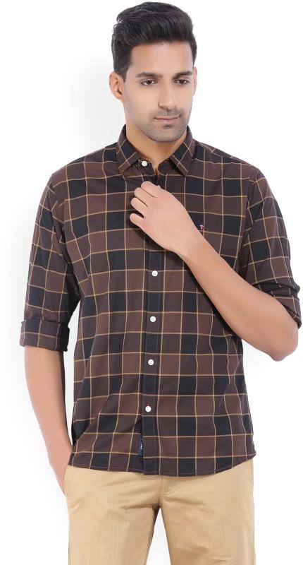 LP Louis Philippe Mens Checkered Casual Black, Brown Shirt