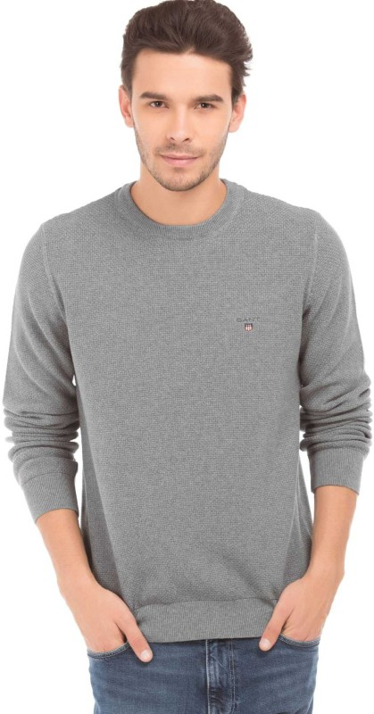 Gant Solid Round Neck Casual Mens Grey Sweater