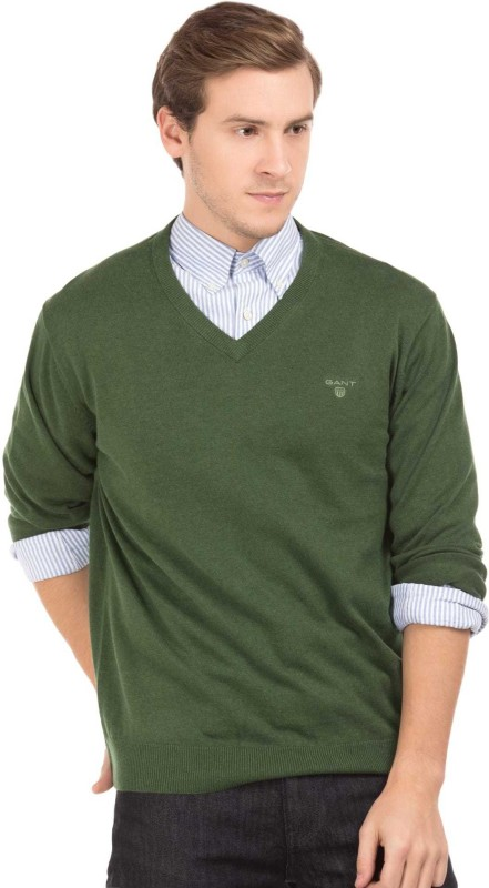 Gant Solid V-neck Casual Mens Green Sweater