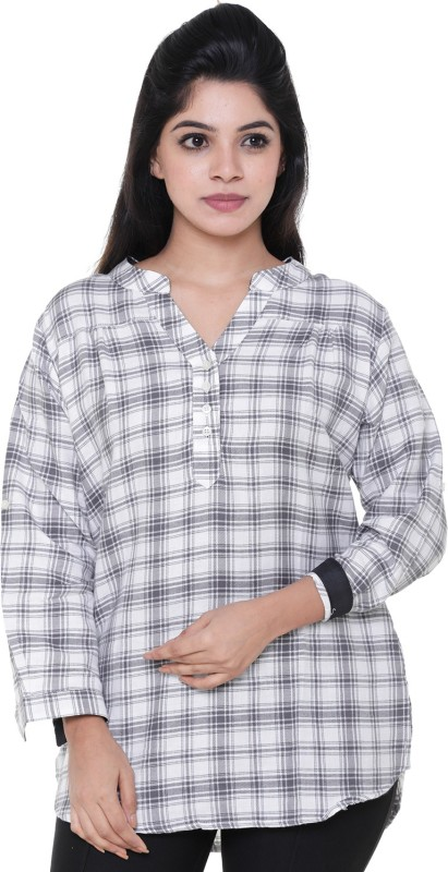 Old Khaki Casual 3/4th Sleeve Checkered Women's White Top