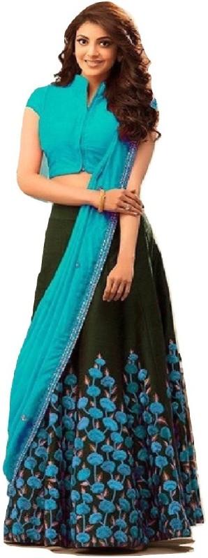 color bucket Embroidered Semi Stitched Lehenga, Choli and Dupatta Set(Light Blue, Black)