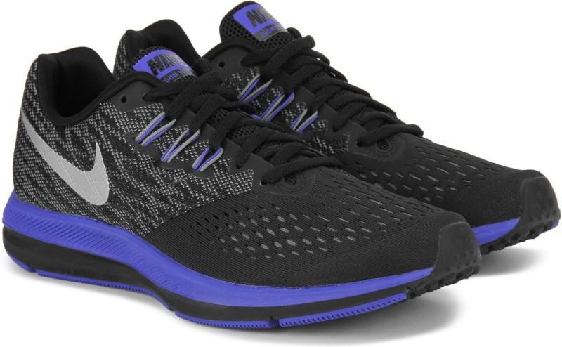 Nike ZOOM WINFLO 4 Running Shoes For Men(Black, Blue)