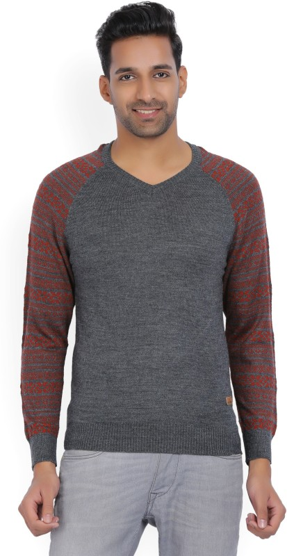 WROGN Self Design V-neck Casual Men Red, Grey Sweater