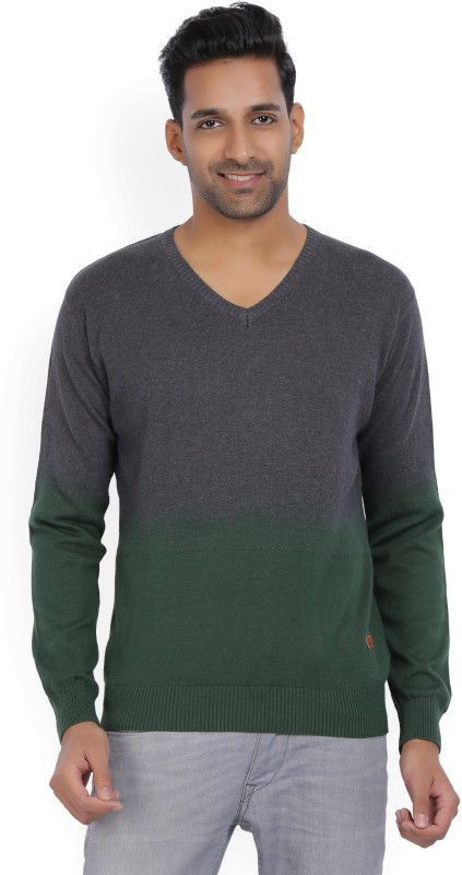 WROGN Solid V-neck Casual Mens Grey, Green Sweater