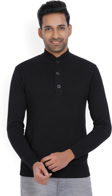 WROGN Solid High Neck Casual Men Black Sweater