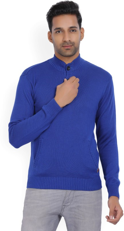 WROGN Solid High Neck Casual Mens Blue Sweater