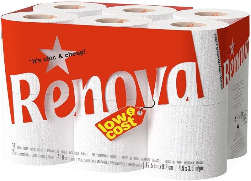 Renova Duplex Toilet Paper 12 Rolls , 2 Ply , Selection of 100% Natural Fibres , Extreme Softness , First Time In INDIA Toilet Paper Roll(2 Ply, 115 Sheets)