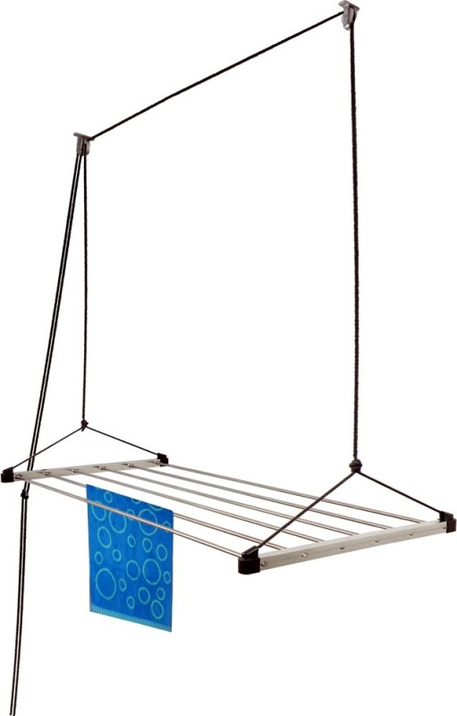 Homwell Rust Proof 6 Pipe X 4 Feet (Blue) with UV protected Nylon Rope Ceiling Cloth Hanger Roof Mount Stainless Steel Ceiling Cloth Dryer Stand(Blue)