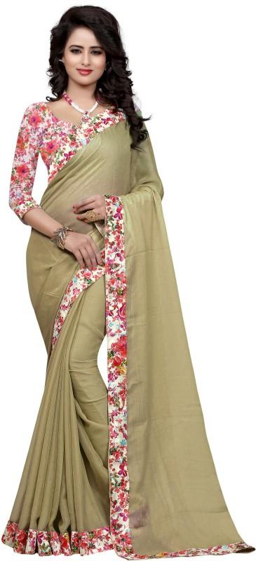Sweetiepie Fashion Plain Fashion Jacquard Saree(Brown)