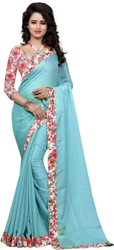 Sweetiepie Fashion Plain Fashion Jacquard Saree(Light Blue)