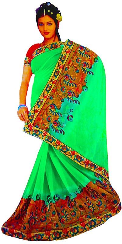 Rupakshara Embroidered Phulkari Georgette Saree(Green)