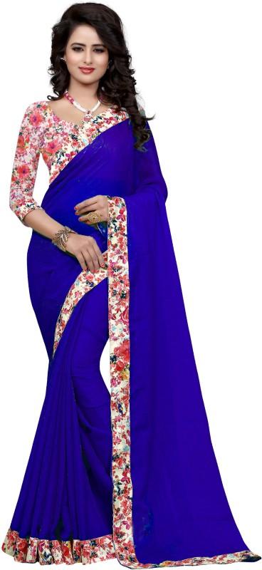 Sweetiepie Fashion Plain Fashion Jacquard Saree(Blue)