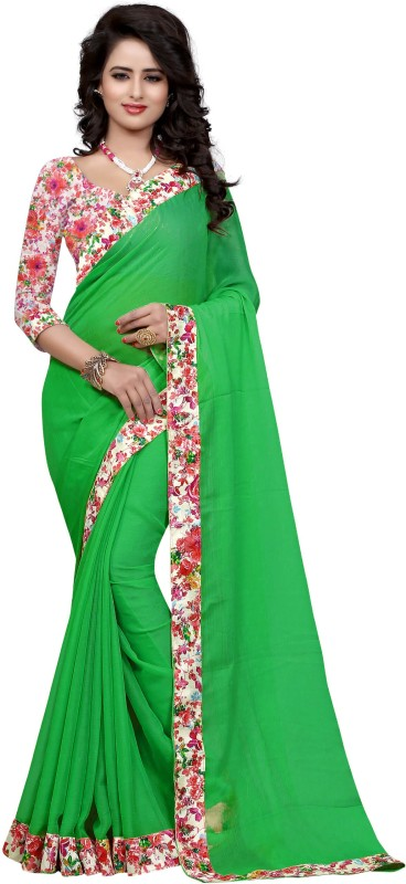 Sweetiepie Fashion Plain Fashion Jacquard Saree(Green)