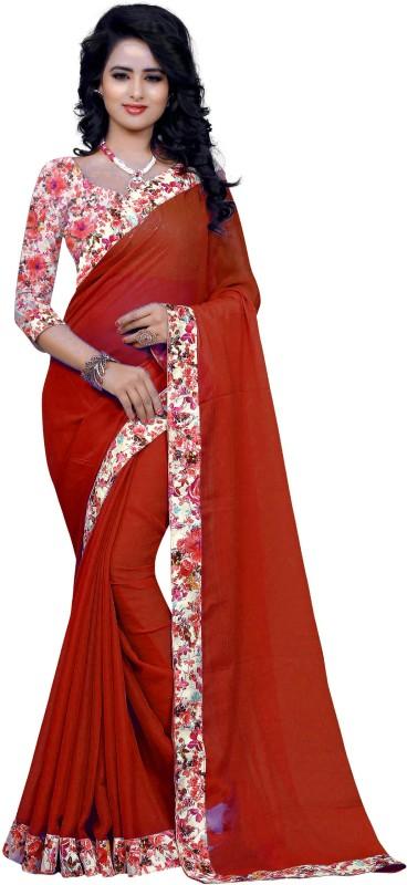 Sweetiepie Fashion Plain Fashion Jacquard Saree(Red)