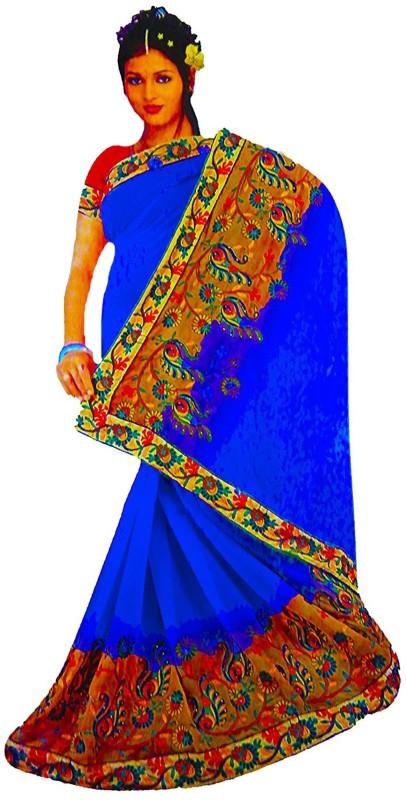 Rupakshara Embroidered Phulkari Georgette Saree(Blue)