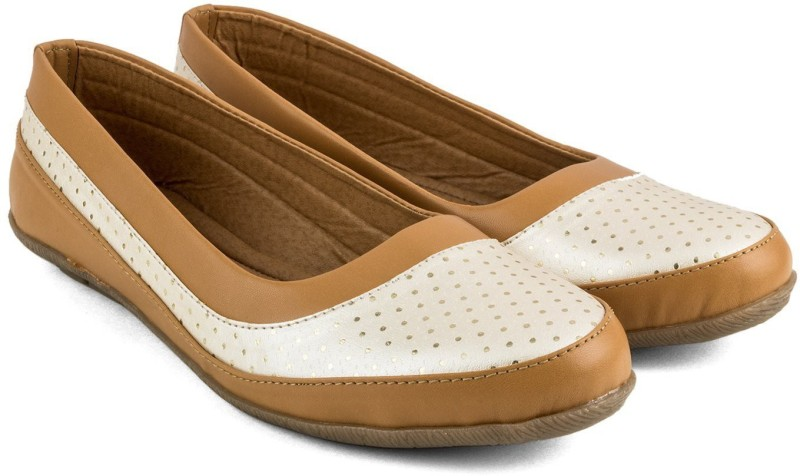 Tashi Women Brown & White Synthetic Leather Belly/ Ballet Flat/ Belly Shoes- 39 Casuals For Women(Brown)