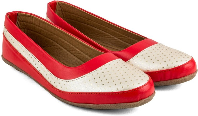 Tashi Women Red & White Synthetic Leather Belly/ Ballet Flat/ Belly Shoes- 39 Casuals For Women(Red)