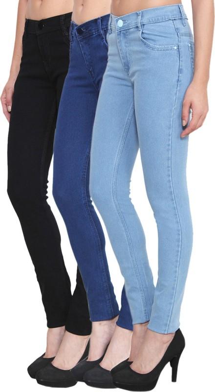 Pop Cherry Slim Women Light Blue, Blue, Black Jeans(Pack of 3)