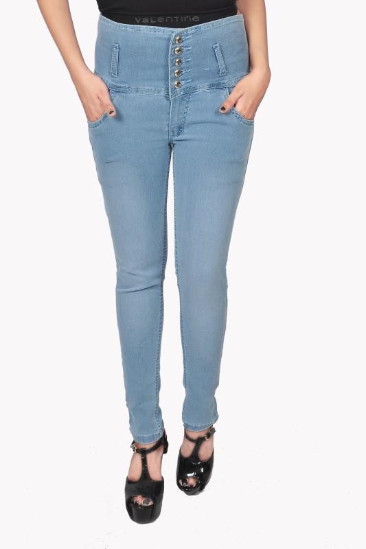 Nifty High Rise Five Buttons Slim Women Light Blue Jeans