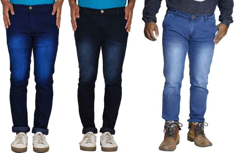 TYCON Skinny Men's Dark Blue, Black, Light Blue Jeans(Pack of 3)